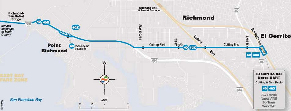 Map of Richmond GGT Bus Service