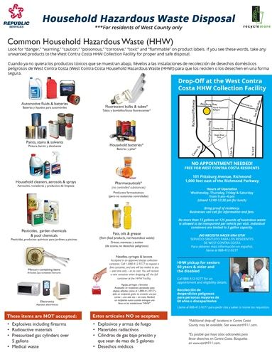 Residential Household Hazardous Waste Disposal Guide