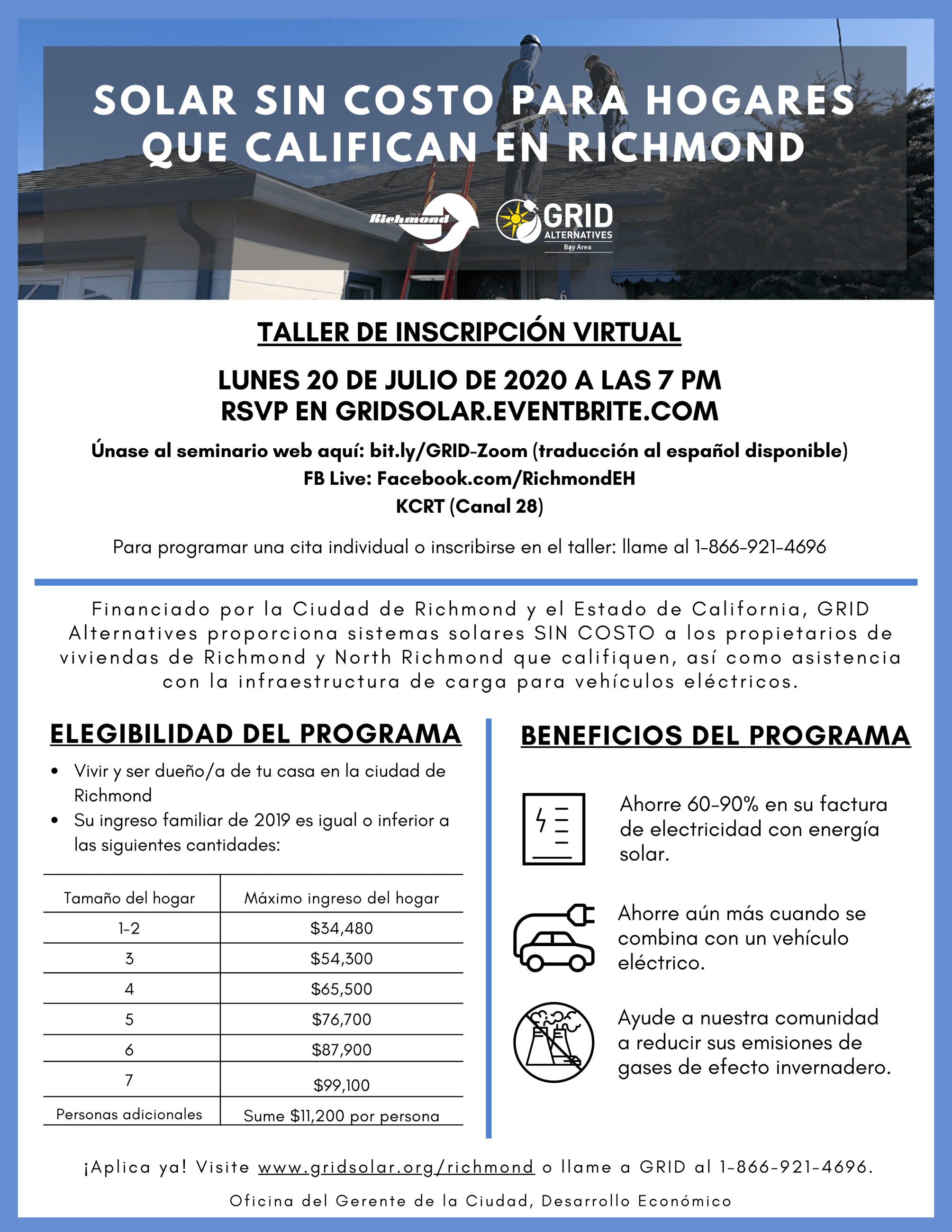 GRID Alternatives Virtual Workshop Flyer Spanish