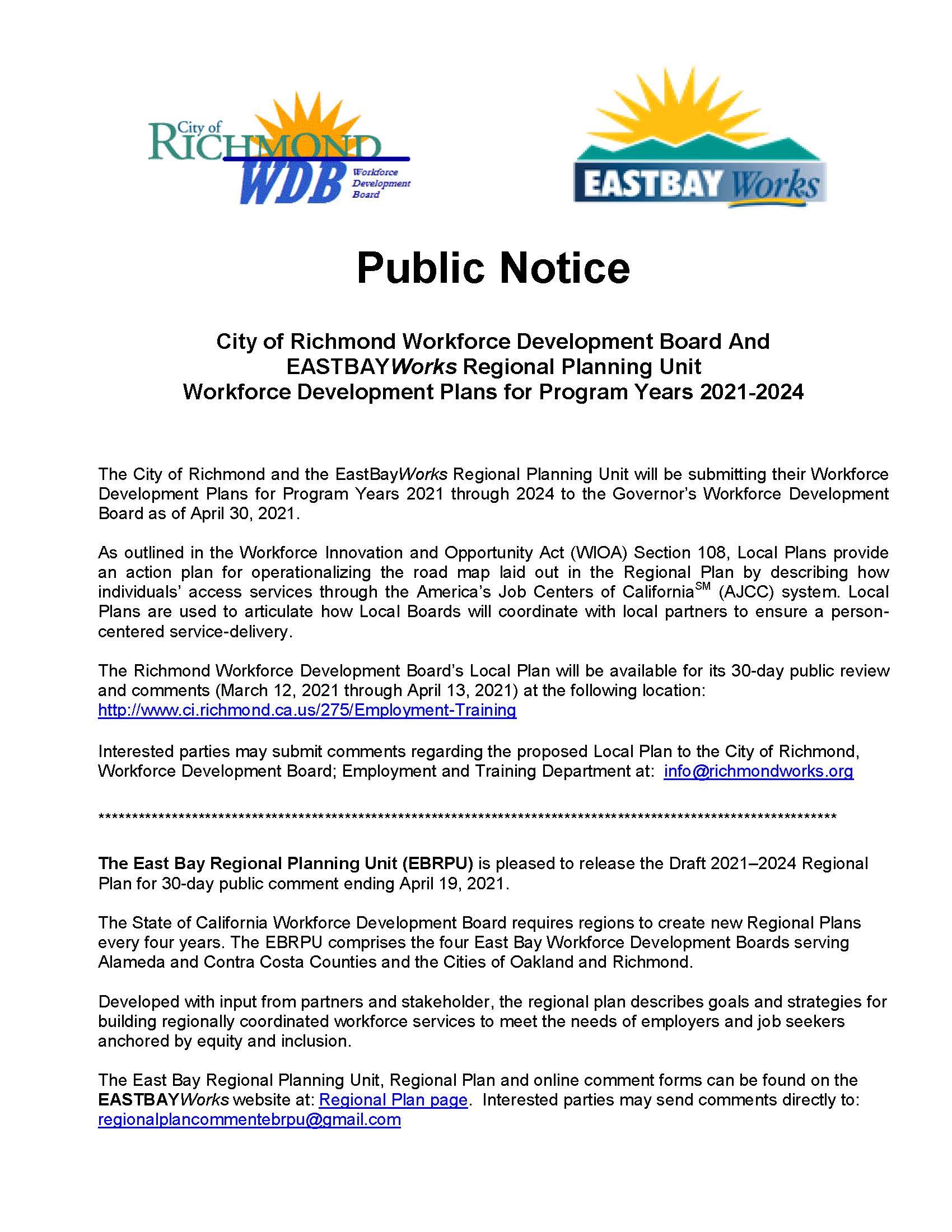 Public Notice.Regional and Local Plan 03-2021